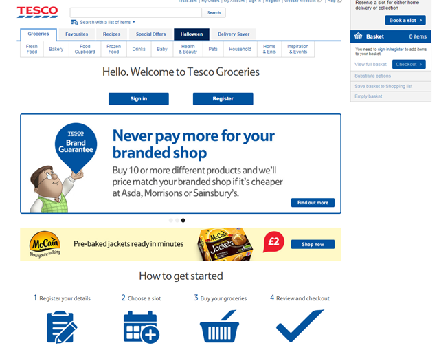 Tesco Groceries landing page