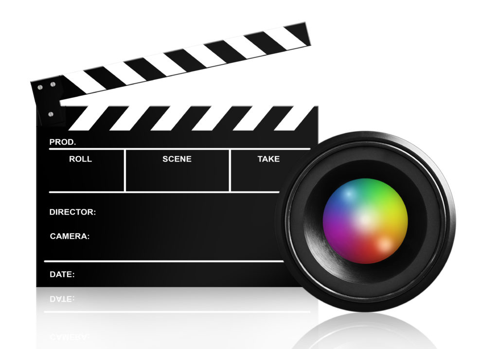 lens & clap board isolated on white