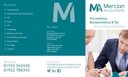 Mercian Accountants website, brochure